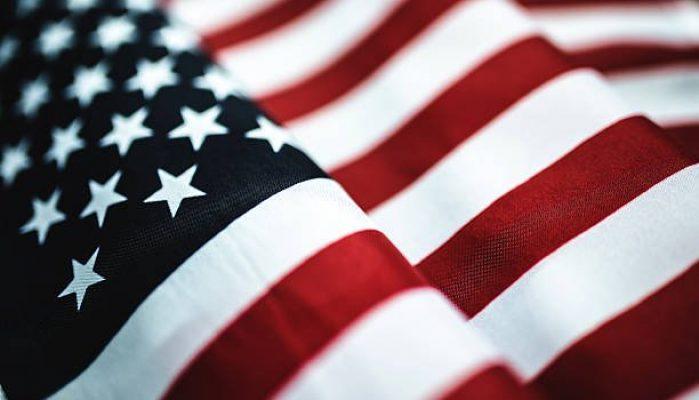 american flag textile close up